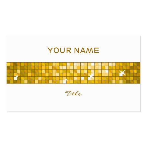 "Disco Tiles ""Gold"" tile stripe white back Business Card Template"