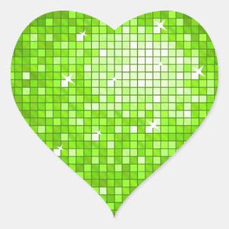 Disco Tiles Green sticker heart