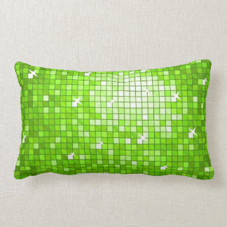 Disco Tiles Green throw pillow