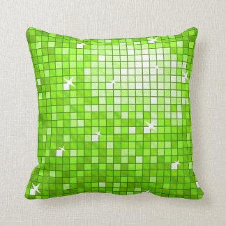 Disco Tiles Green throw pillow square