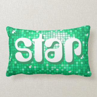 Disco Tiles Jade 'star' throw pillow amelia text