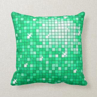 Disco Tiles Jade throw pillow square