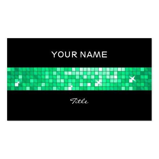 Disco Tiles Jade tile stripe black back Business Card Template