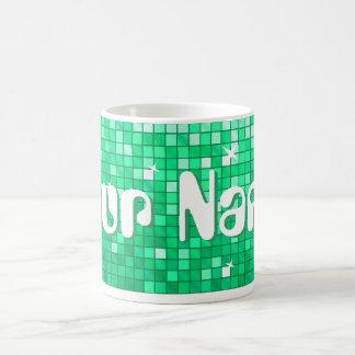 Disco Tiles Jade 'Your Name' mug