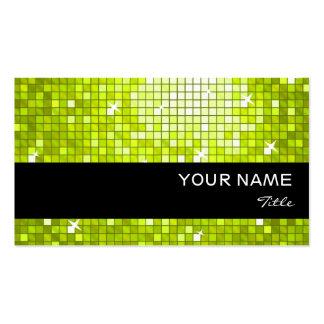 Disco Tiles Lime  business card black stripe