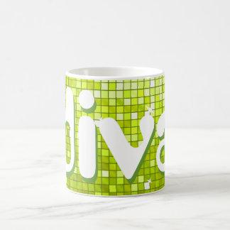 Disco Tiles Lime 'diva' mug