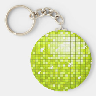 Disco Tiles Lime keychain round