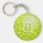 Disco Tiles Lime 'monogram' keychain round