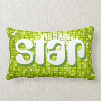 Disco Tiles Lime 'star' throw pillow amelia text