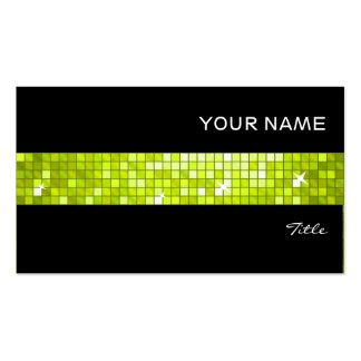 Disco Tiles Lime tile stripe black Business Cards