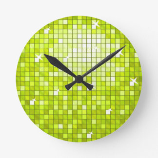 Disco Tiles Lime wall clock