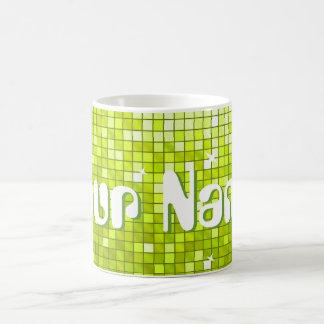 Disco Tiles Lime 'Your Name' mug