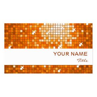 Disco Tiles Orange business card white stripe