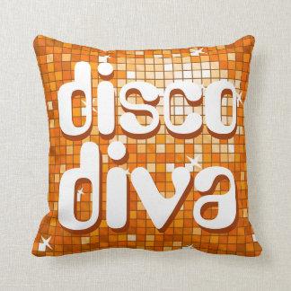 Disco Tiles Orange 'disco diva' throw pillow