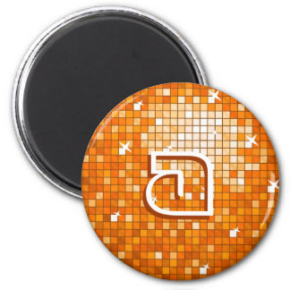 Disco Tiles Orange fridge magnet 'monogram' round