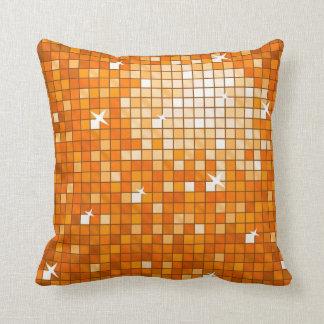 Disco Tiles Orange throw pillow square