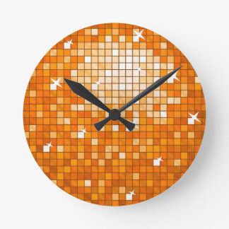 Disco Tiles Orange wall clock