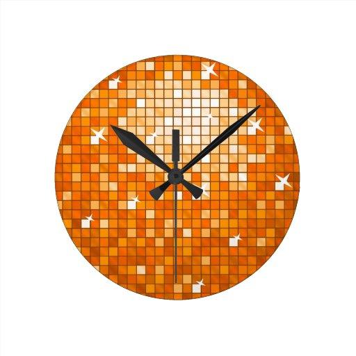Disco Tiles Orange wall clock