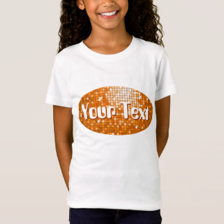 Disco Tiles Orange 'Your Text' oval girls fitted T-Shirt