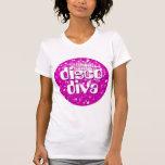 Disco Tiles Pink 'disco diva' ladies petite white T-Shirt