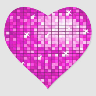 Disco Tiles Pink sticker heart