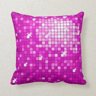 Disco Tiles Pink throw pillow square