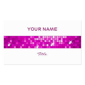 Disco Tiles Pink tile stripe white back Business Cards