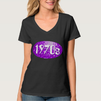 Disco Tiles Purple '1970s' ladies v-neck black T Shirt