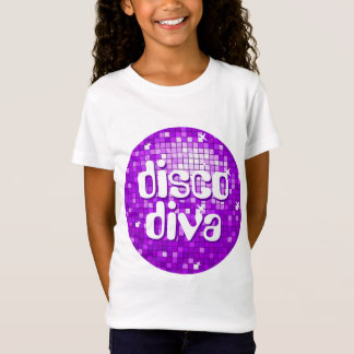 Disco Tiles Purple 'disco diva' girls fitted T-Shirt