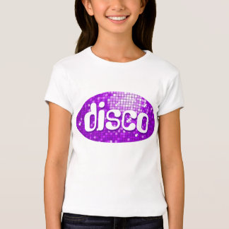 Disco Tiles Purple 'disco'  girls fitted white T-Shirt