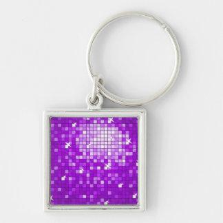 Disco Tiles Purple keychain square