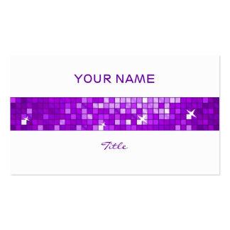 Disco Tiles Purple tile stripe white back Business Card Templates