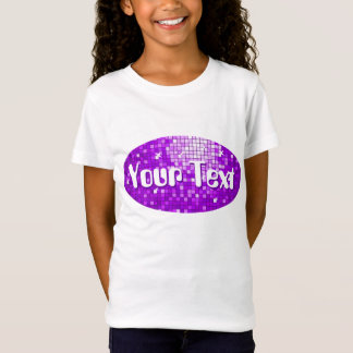 Disco Tiles Purple 'Your Text' oval girls fitted T-Shirt