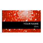 Disco Tiles Red business card black stripe