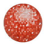 Disco Tiles Red cutting board round