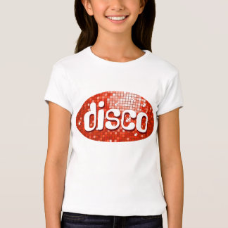 Disco Tiles Red 'disco'  girls fitted white T-Shirt