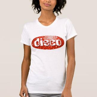 Disco Tiles Red 'disco'  ladies petite white T-Shirt