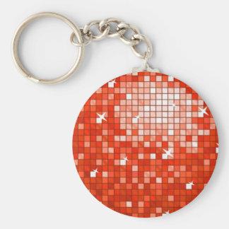 Disco Tiles Red keychain round