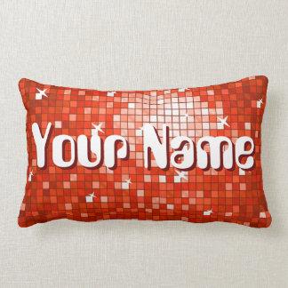 Disco Tiles Red 'Name' throw pillow lumbar