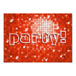 Disco Tiles Red 'party!' invitation