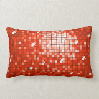 Disco Tiles Red throw pillow