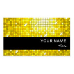 Disco Tiles Yellow business card black stripe