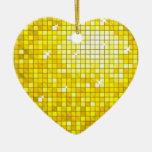 Disco Tiles Yellow ornament heart
