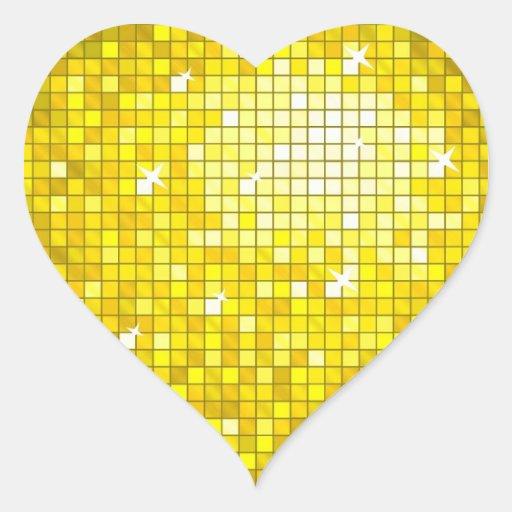 Disco Tiles Yellow sticker heart