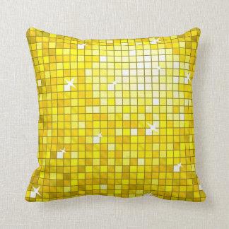 Disco Tiles Yellow throw pillow square