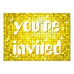 Disco Tiles Yellow 'you're invited' amelia text 13 Cm X 18 Cm Invitation Card
