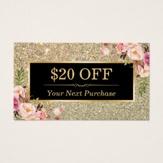 Discount Coupon Beauty Salon Floral Gold Glitter Business Card