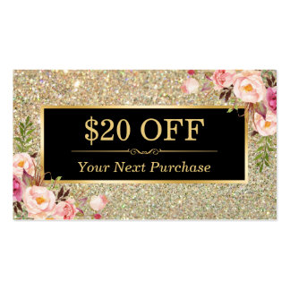 Discount Coupon Beauty Salon Floral Gold Glitter Pack Of Standard Business Cards