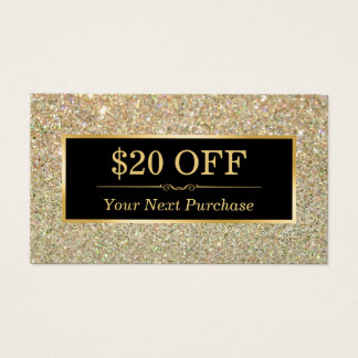 Discount Coupon Beauty Salon Trendy Gold Glitter