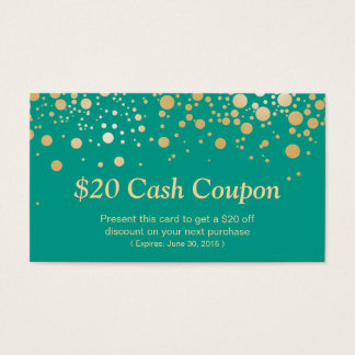 Discount Coupon Card Emerald Green Gold Dots